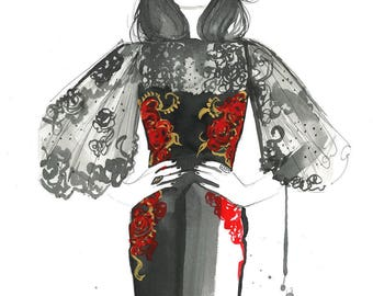 "Original watercolor fashion illustration sketch sized 11 x 17"" titled, Goth Meets Glam by Jessica Durrant"