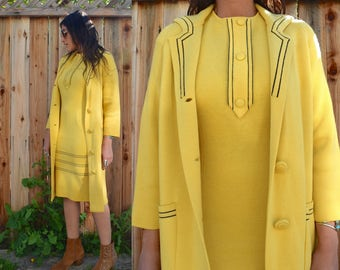 Vintage 60s Yellow MOD SCOOTER Dress with Matching Coat S