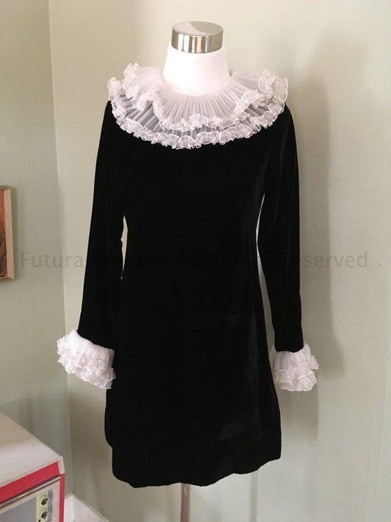1960s Timeless Soft Black Velvet Romantic Mini Dress with White Accordion Ruffles-S M