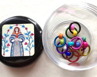 Knitting Pot & Stitch Markers Set - STRANGE BREW Selection