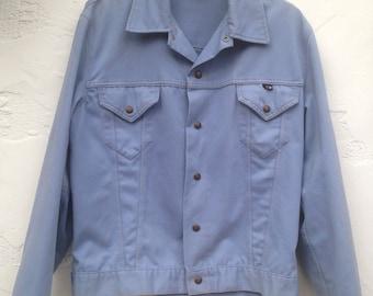 Vintage 70's SEARS Hands Off Light Blue Denim Style Jacket / 70's Jacket Size 42 - 44 Size LARGE / Mens/ Unisex