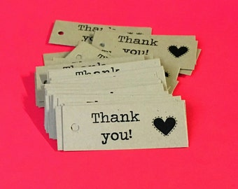 "Thank You Tags (100) ... Heart Kraft Brown Labels 2"" x 3/4"" Rustic Packaging Gift Tags Seller Supplies Kraft Tags Mini Tags Handmade Tags"