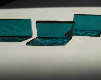 """50 Pieces 1/2"""" x 1"""" Turquoise Cathedral Hammered Stained Glass Mosaic Border Tiles Hand cut"""