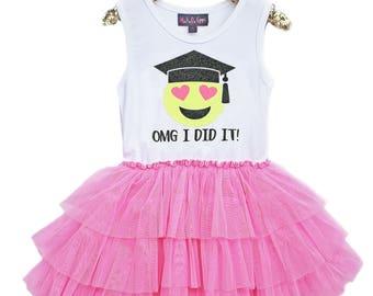 Girls Graduation, Girls Emoji Dress, Emoji Party, Kindergarten Graduation, Pre-K Graduation, Girls Graduation Outfit