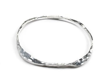 Hammered Silver Bangle Bracelet - Heavy Silver Bangle - Argentium Silver Jewelry
