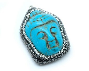 Buddha Pendant, 1pc, Howlite, Rhinestone Pendant, 33x25mm, Buddha Head -P362