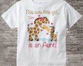Girls Personalized This cute little girl is an Aunt, Giraffe Shirt or Onesie with Aunt and baby giraffe. 06192015e