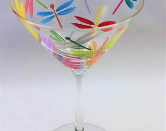 Colorful dragonfly martini glass - hand painted martini glass with multi-color dragonflies - single glass