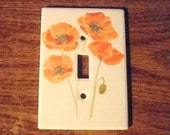 POPPY LIGHTSWITCH PLATE One of a Kind Fine Home Decor original ceramic design hand watercolor glazed by Faith Ann Originals on Etsy