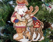 Lapland Santa Cross Stitched and Beaded Christmas Tree Ornament - Free U.S. Shipping