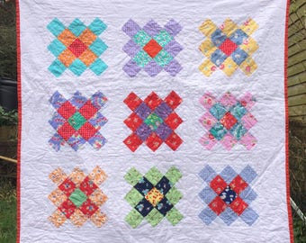 Handmade quilt - throw quilt - baby quilt - handmade baby blanket - granny square quilt - patchwork quilt