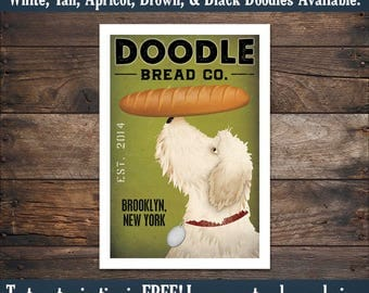 FREE CUSTOMIZATION Doodle Labradoodle Goldendoodle Bread Bakery Company Sign Archival Giclee Print