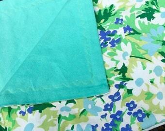 Retro Linen Baby Blanket, Repurposed Linen, New Flannel, Fun and Functional