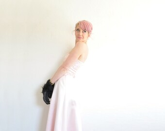 pastel pink unicorn prom dress . sequin sparkle satin 2 piece gown .small .sale