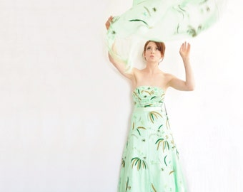 pale green forest wedding gown . fern leaf tree woodland bride . formal dress and sash .extra small.xs .sale