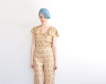 metallic gold feather print outfit . 1970 two piece matching blouse pant set .medium .sale