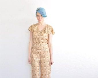 metallic gold feather print outfit . 1970 two piece matching blouse pant set .medium