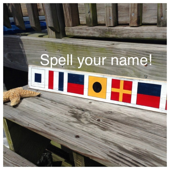 Nautical Sign Custom Code Flags Beach Coastal Decor Nautical Nursery