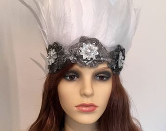 White and Silver tribal feather festival headband, Coachella, Burning Man, Secret Garden Party.