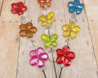 Beaded Plant Sticks - Stakes - Picks - Set of 3 - Flowers and Butterflies - Blue, Yellow, Orange, Red, Green and Brown