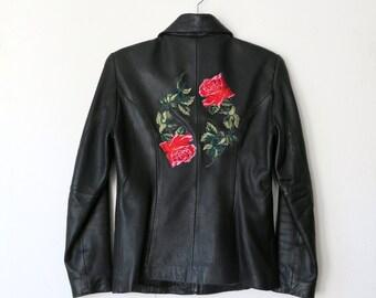 Rose Jacket / Black Leather Jacket S / Patch Jacket / Buttery Leather Jacket Sz S