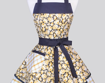 Ruffled Retro Pinup Apron - Yellow and Gray Rose Floral Womans Vintage Style Kitchen Apron with Pockets to Personalize or Monogram