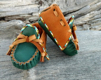"""Baby Moccasins By Desi, Deerskin leather, 3 3/4"""" long, Beaded Green, Brown Shoes, Tribal, Aztec, Traditional, Holiday Winter Wear, Christmas"""