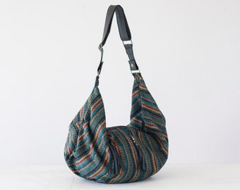 Stripe wool cross body bag with black leather, crossover bag slouchy messenger purse everyday- Crossbody Kallia bag