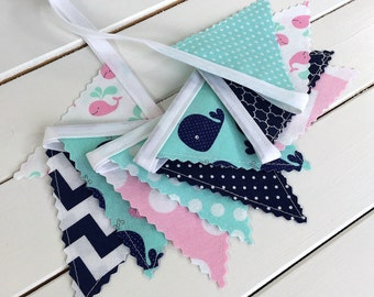 Bunting Banner Mini, Fabric Banner Flags, Photography Prop, Nautical Nursery Decor, Baby Pink, Mint Green, Navy Blue, Whales, Light Pink