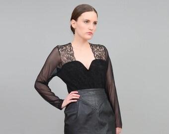 Black Bodysuit 80s Bodysuit   Sheer Mesh Top Sweetheart Neckline Velvet Bodysuit Floral Lace Leotard   Sexy Goth Lingerie   Medium Large M L