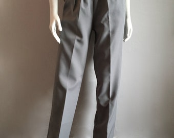 Vintage Women's 80's Grey Pleated, Pants, High Waisted, Straight Leg (M)