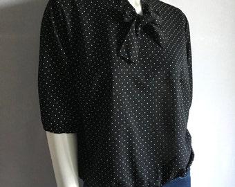 Vintage Women's 80's Black Polka Dot, Bow Tie Blouse, Polyester, Short Sleeve (XL)