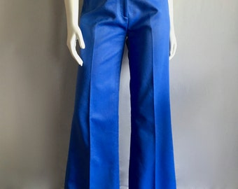 Vintage Women's 70's Blue Flare Pants, High Waisted, Bell Bottoms (M)