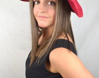 Vintage 1940s 40s 50s Red Wool Herme Fascinator Hat