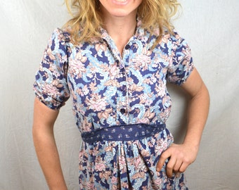 Cute Vintage 70s Floral Hippie Summer Dress