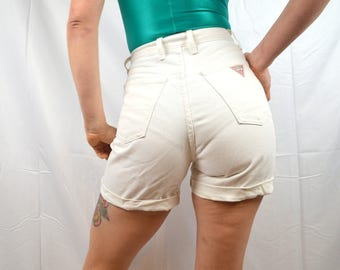 Vintage 80s 90s Guess White Denim High Waisted Shorts