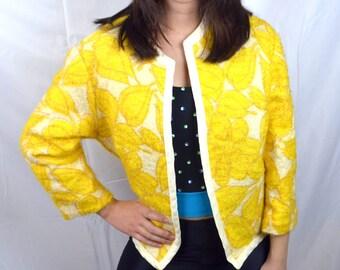 Vintage 1960s 60s Springtime Bright Yellow Women's Jacket Blazer - Bobbe Abbott