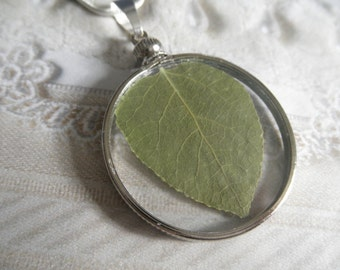 Summer Aspen Leaf Looking Glass Pendant-Symbolizes Determination, Overcoming Fears, Doubts-Nature's Wearable Art-Colorado Inspired