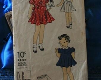 1940s Du Barry girls size 1 dress and panty pattern 1958B