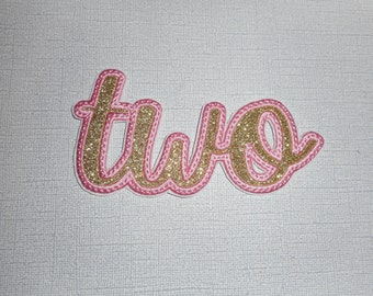 Free Shipping Ready to Ship TWO  Glitter  Machine Embroidery  iron on applique