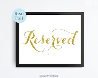 Reserved sign, wedding sign, real foil sign, wedding decor, table sign, table decor, printed wedding sign (FS-03)