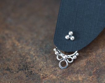 Dainty front back earring SET, handcrafted sterling silver ear jackets and silver dot stud earrings, gift for her