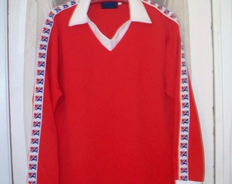 60s/70s bright red polyester athletic sports team shirt