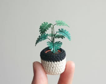 Monstera Deliciosa Leaf Plant - dollhouse miniatures, tiny indoor garden, jungalow, cute desk accessories, 1:12 scale fake plant