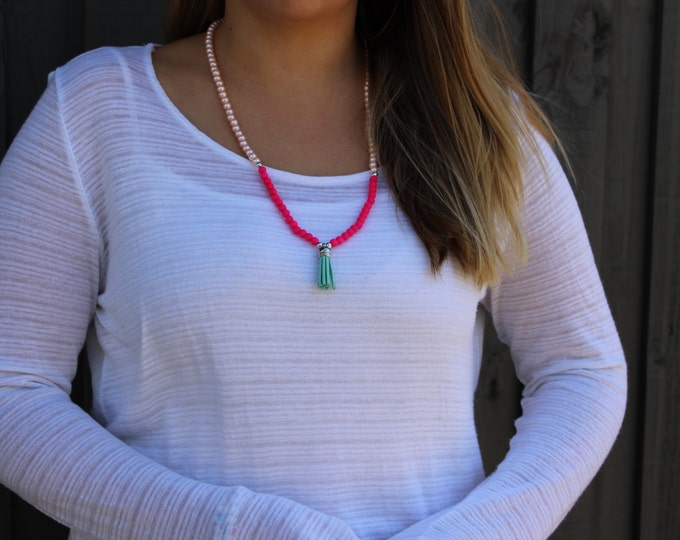 Fluro pink, Pearl and Turquoise Tassel Necklace.