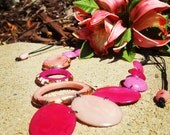 Island girl tagua hawaiian necklace, asymmetrical necklace ,leaf necklace/colorful tropical combos