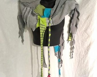 Turquoise Sky Art Scarf, OOAK, Reconstructed, Recycled,