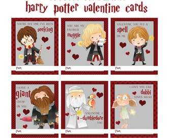 Harry Potter Inspired Valentines Day Cards, Wizards, Love, Instant Download, Kids Valentines, Printable Valentines Cards