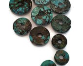 Faux Turquoise Donut Bead Destash Lot - 10 count, Turquoise, Brown and Black - Western or Cowgirl - Belt, Necklace, Earrings or Sets