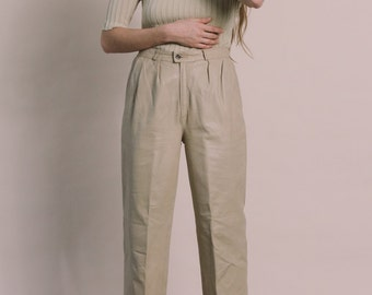 Vintage 80s Cream Leather Tapered Trousers | 6/8